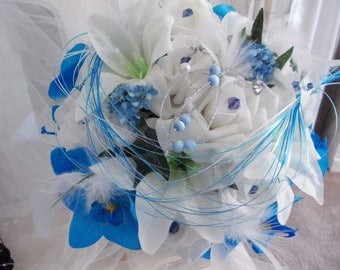 Sea Blue Orchid bridal bouquet