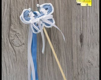 20 sticks ribbons butterflies for out of Church: blue and white crochet and satin ribbon