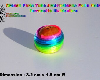 Large bead Native American handcrafted round 2.1 cm terracotta threads