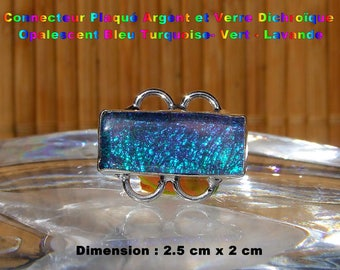 Glass silver plated connector dichroic Opalescent-Turquoise-green - Lavender 2.5 cm - #9