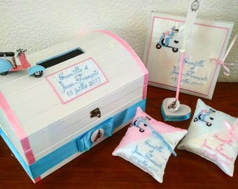 wedding ring cushion / wedding / box / urn / pot / piggy bank box guest book and pen vespa
