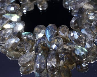 x4perles drop semi precious faceted labradorite approximately 10mm