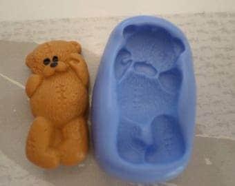 """Mold silicone soft """"beautiful Teddy bear plush 3cm"""""""