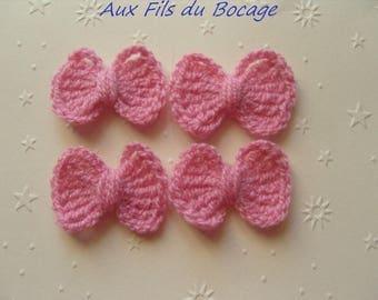 Pink bows crochet wool, set of 4