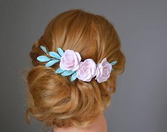 Bridal flower hair crown, flower wedding comb, hair accessoires