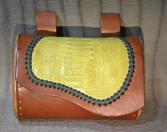 This purse festival wood Walnut-ostrich-collar - tanned skin