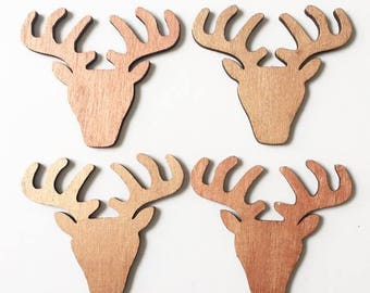 Deer wooden decoration pink gold color