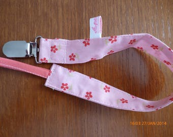 Pacifier clip small pink flowers