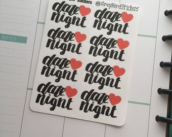 Date Night Text Stickers for Erin Condren Life Planners, Happy Planners, Bullet Journals and More
