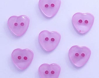 Heart 15mm set of 10 buttons: Rose - clear 002222