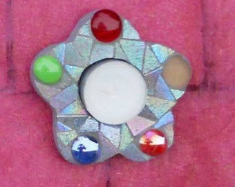 Flower candle holder - wooden support - mosaic glass - iridescent grey - and glass beads
