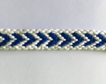 Navy Blue and white Friendship Bracelet with border