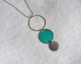 Lightweight, modern and minimalist necklace, ring and silver and mother of Pearl coin, turquoise and silver ball chain