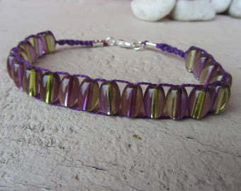 woven bracelet, oval glass beads translucent, purple and green on purple cotton thread, silver plated lobster clasp, macrame