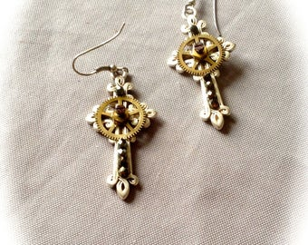 Earrings creator cross steampunk gears