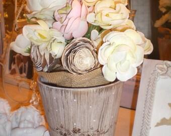 Floral and golden brown patina cream jar