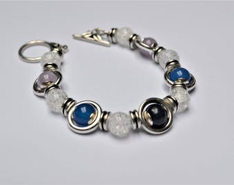 Bracelet plated silver beads of lapis lazuli, amethyst and agate / stones of wisdom, confidence and inner peace