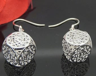 Earrings dangle square twisted in silver 990