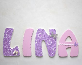 decorative name girl - letters size 14 cm wooden letters