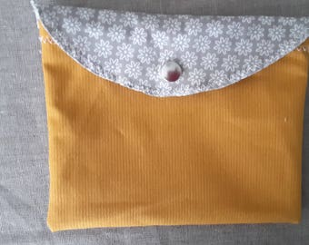 Mustard yellow purse, taupe; floral patterns