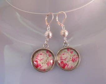 LIQUIDATION pearl earrings silver cabochon glass 20 mm pink green flower