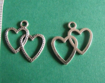 Silver charm double heart 23mmx22mm