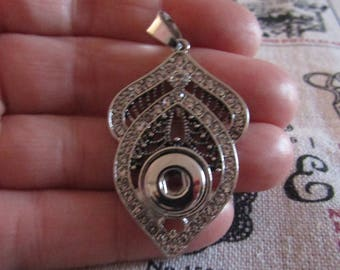 silver pendant with rhinestones for 1 pressure 12mm