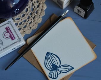 """Pack of 6 handmade and handstamped greeting cards with envelopes """"ginestra"""""""