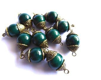 10 green round glass beads Kit