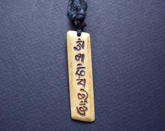 Necklace Tibetan yak bone carved mantras amulet pendant