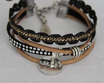 Fashion bracelet custom engraved - Ethnic black gold