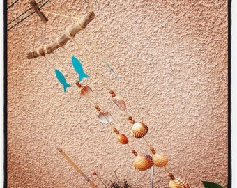 Suspension - Decoration Mobile driftwood and shells (blue fish)