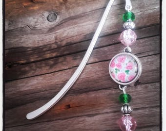Silver charm bookmark pink red beads and cabochon