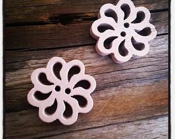 set of 2 fancy wood, rose, beige flower buttons