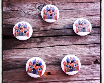 set of 5 buttons, circus, Carnival, carousel