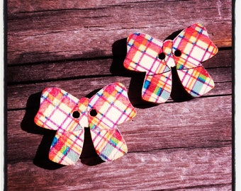 Set of 2 wood buttons multicolor bows