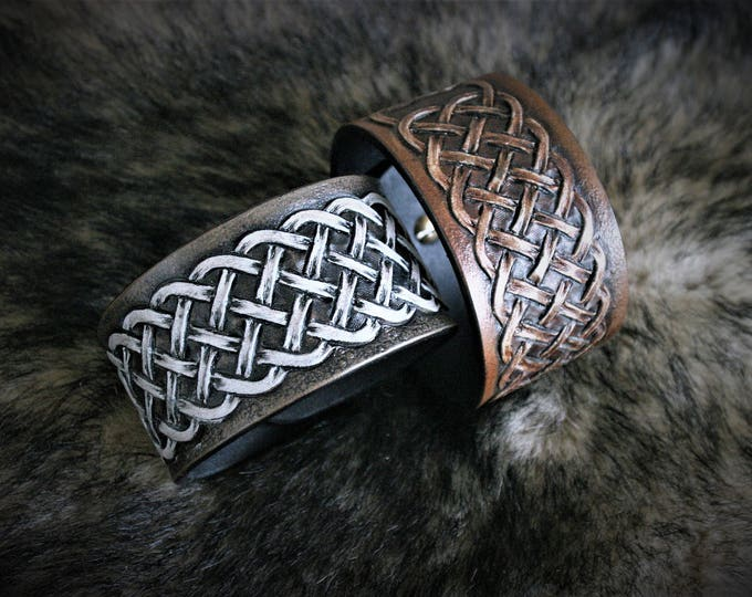 Celtic jewelry bracelet men leather embossed tracery gray or brown to choose custom