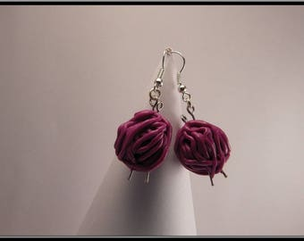 Ball of yarn in polymer clay earrings