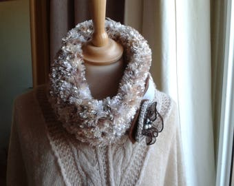 Comfy cozy Snood, shades of beige, by Mary j designs