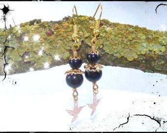 Obsidian and Hummingbird earrings