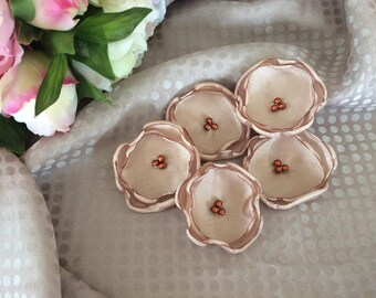 Flower 5 cm satin beige/Brown and copper beads