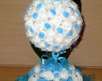 Table centerpiece, turquoise and white