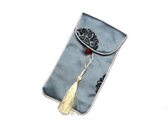 Japan spirit * sleeve cover portable smartphone or sunglasses with embroidered silk * grey