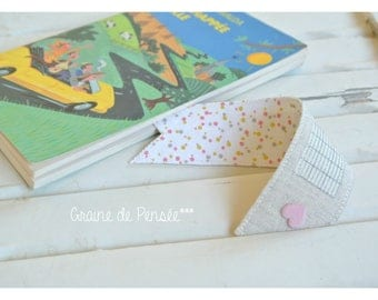 Linen and cotton heart to personalize bookmark