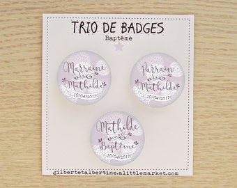 Trio badges godmother/Godfather 3.8 cm Japanese flowers