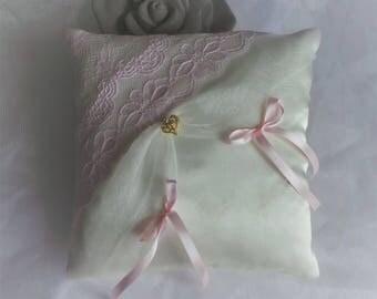 Blush Pink lace ring bearer pillow