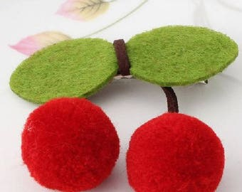 """Time of cherries"" - felt hair clips alligator Christmas gift ideas"
