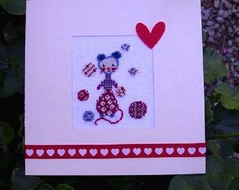 Hand embroidered card: little mouse with balloons