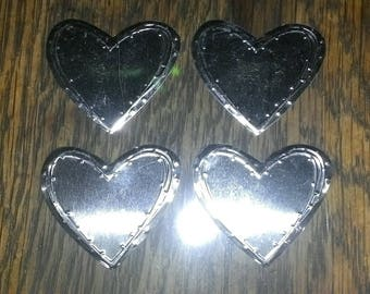 Set of four stickers heart shaped silver stainless steel metal