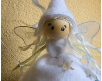 Fairy white /elfe /Fairy with magic wand to hardened string ornament / hanging fairy figurine / personalized gift